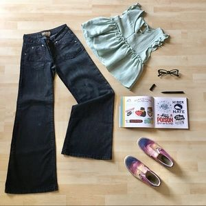 Liquid blue high-waisted super wide flare jeans